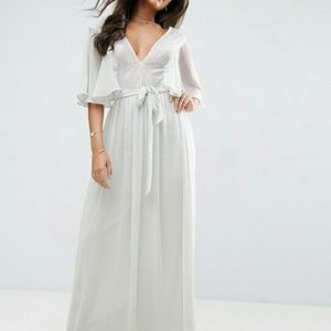 Lace Paneled Flutter Sleeve Maxi Dress